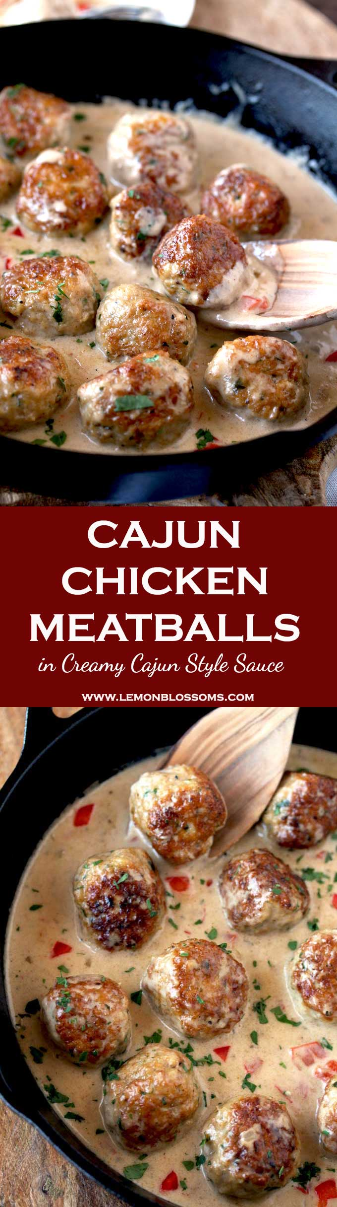 These Cajun Chicken Meatballs are tender, juicy and packed with flavor. Perfectly golden brown and smothered in a rich and creamy Cajun sauce.  Serve them over pasta, rice or with some toasty bread. This one-pot meal will become a family favorite! #Cajun #meatballs #chicken #recipe #dinner #appetizer