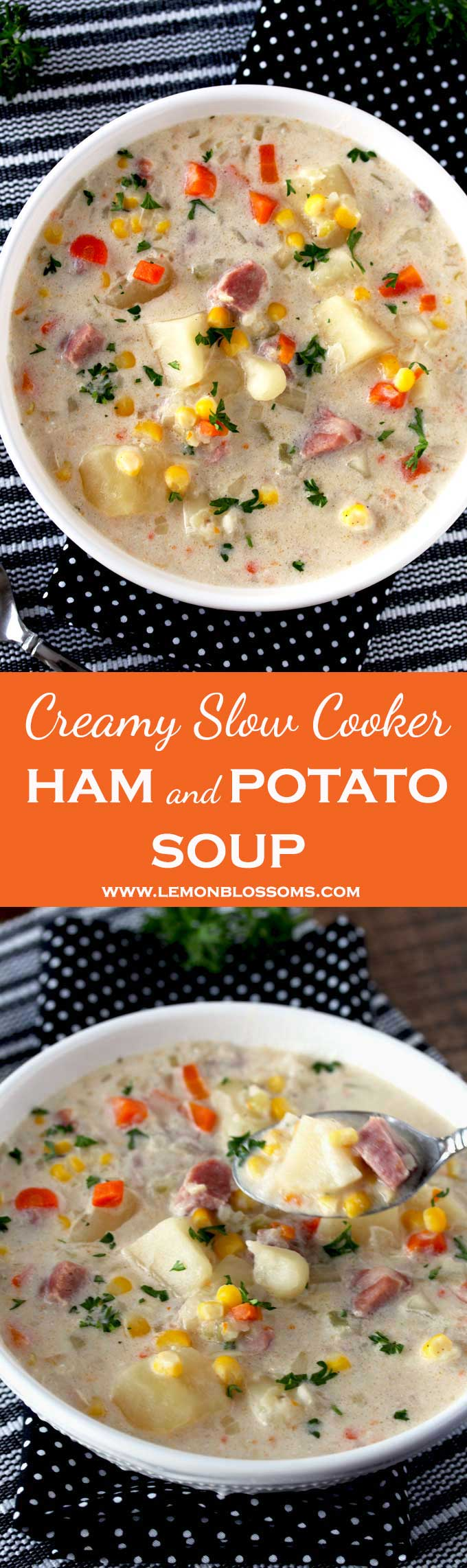 This Slow Cooker Ham and Potato Soup is hearty and creamy. Loaded with ham, potatoes and veggies and finished with a bit of cream and sour cream for richness. This easy everyday meal is pure comfort food. #soup #glutenfree #slowcooker