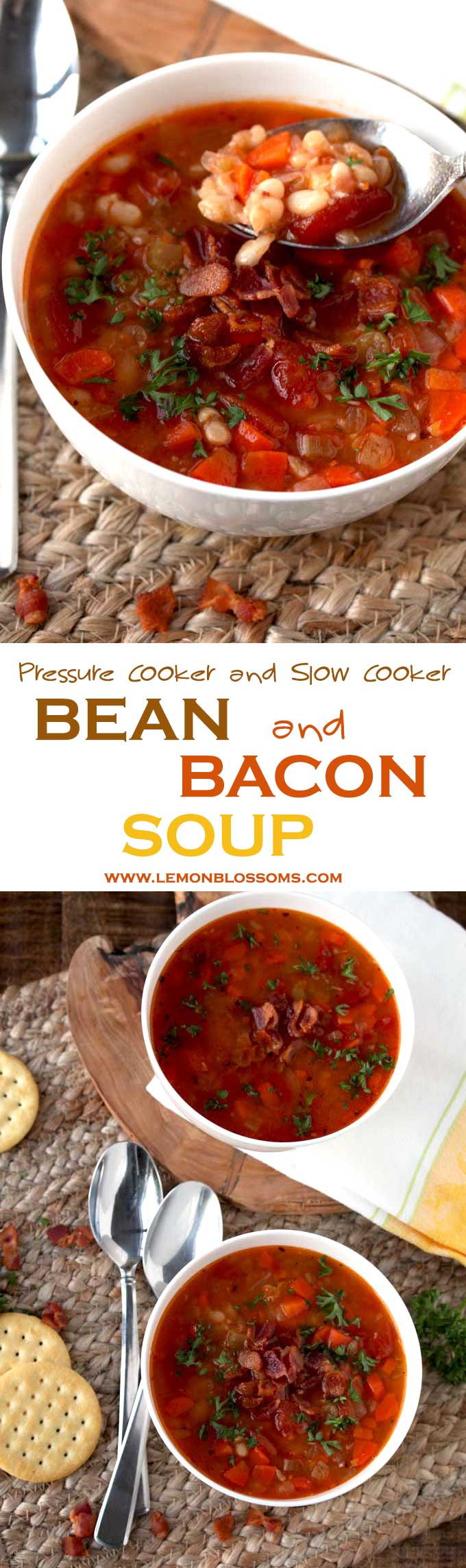 This Bean and Bacon Soup is light and incredibly tasty. Made with diced tomatoes, carrots, celery, onions and bacon. This is a broth-y type soup. If you want to stay away from heavy and creamy soups for a while, this one is for you!! Pressure Cooker and Slow Cooker instructions provided! #soup #bean #bacon #instantpot #slowcooker #crockpot