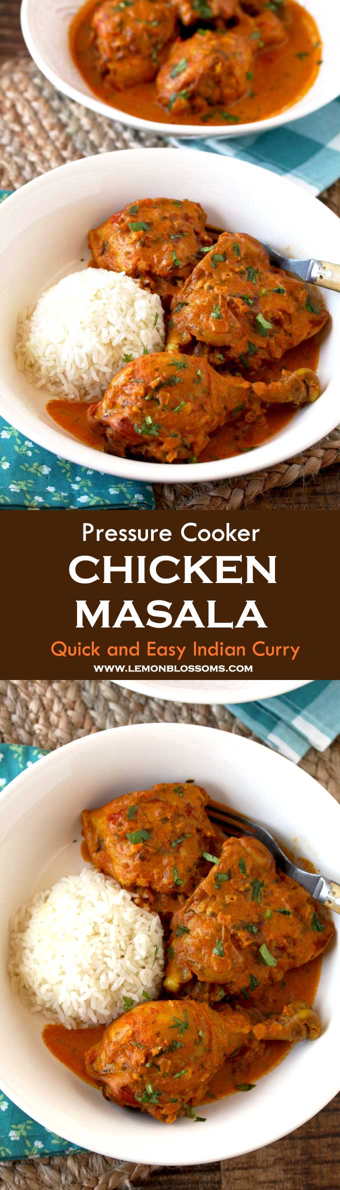 This Indian inspired Chicken Masala has the right balance of spices and creaminess and only takes 30 minutes to make! Chicken pieces are cooked in a flavorful tomato based sauce with spices you already have in your kitchen. This easy full flavored homemade curry recipe is one everyone will love! #Instantpot #chicken #Masala #Curry #IndianFood