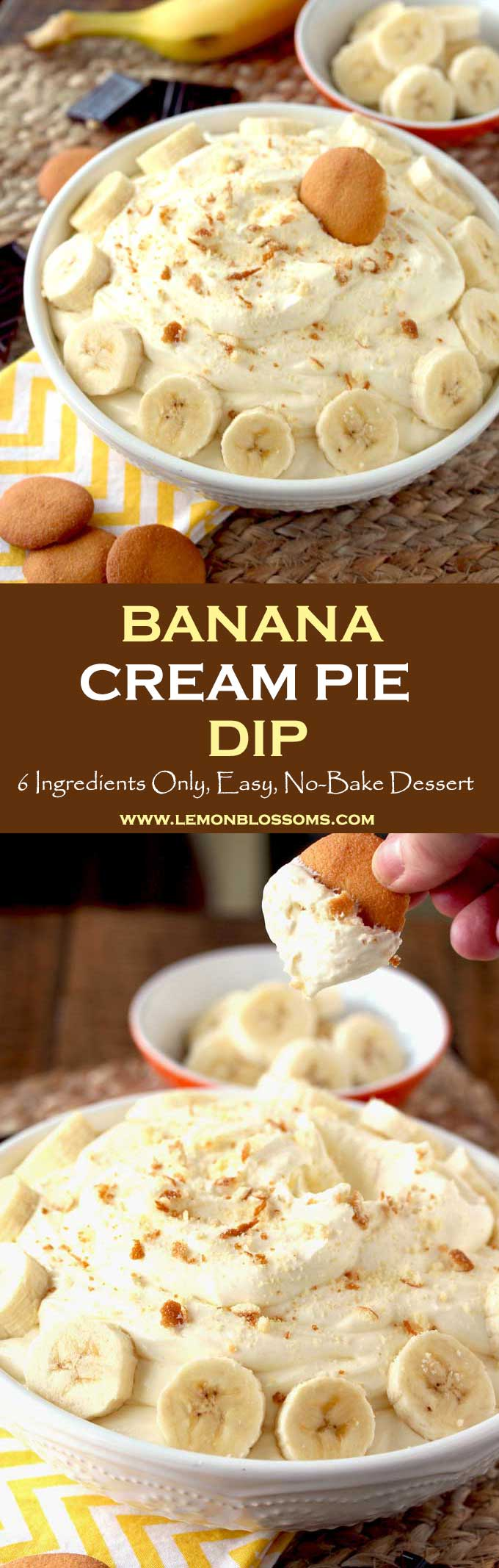 This Banana Cream Pie Dip recipe is super easy and quick to make! With only a handful of ingredients, this no-bake dip is perfect for any occasion. All the amazing flavors of a banana cream pie in a smooth, creamy and silky dip! #bananacream #pie #dip #dessert #easydessert #nobake #creampie #sweets
