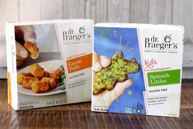 2 boxes of Dr. Praeger's products. Carrot Puffs and Spinach littles.