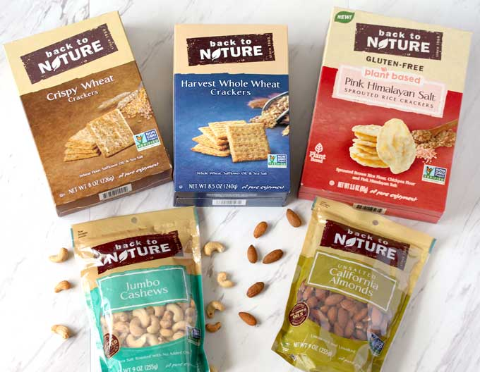 Assortment of crackers and nuts from Back To Nature