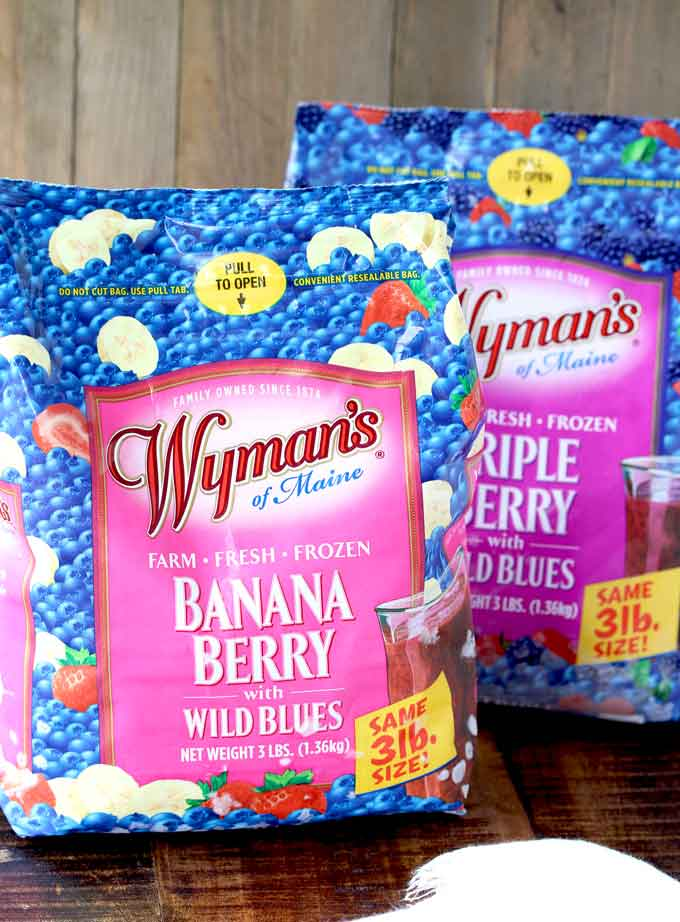 Pictured here two bags of Wyman's Frozen Fruit. Banana Berry and Triple Berry