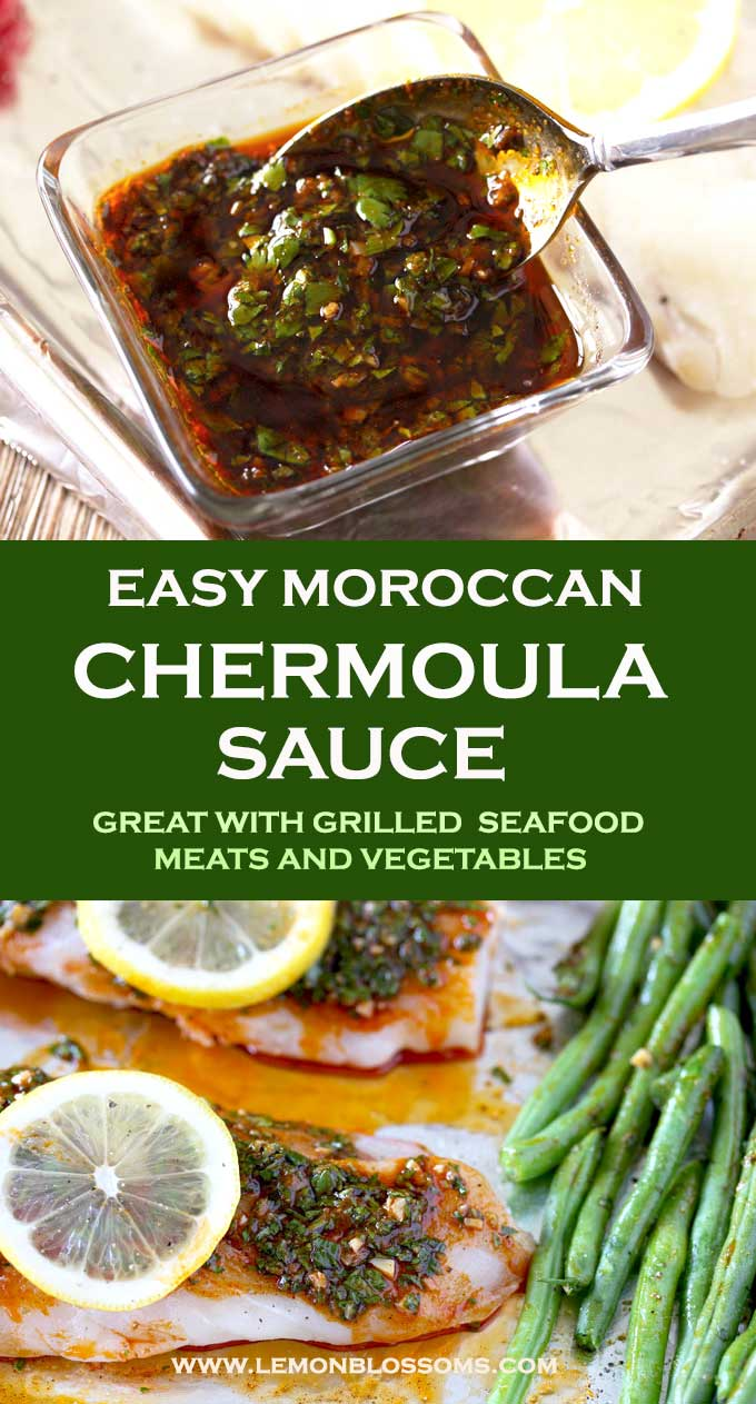 This Chermoulasauce is super flavorful and easy to make. Made with fresh herbs, garlic, lemon and earthy warm spices. This Moroccan condiment is perfect served with grilled seafood and vegetables. #recipe #chermoula #sauce #fish