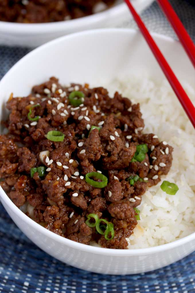 Korean Beef over Rice in a white bowl