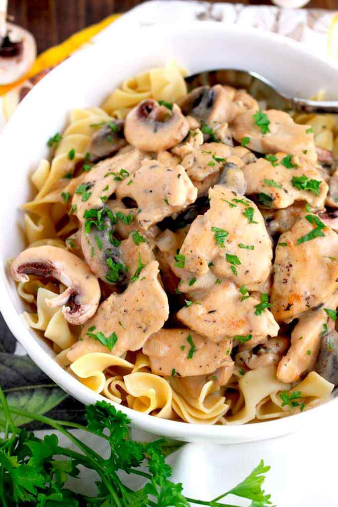 Chicken Stroganoff with creamy mushrooms on a white bowl.l