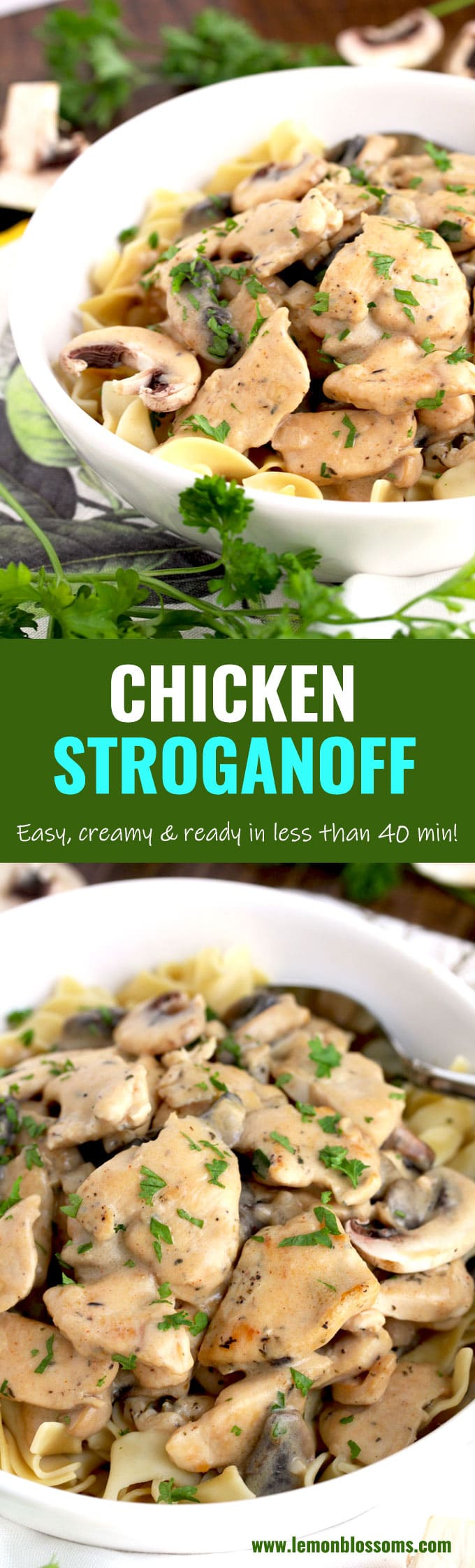Chicken Stroganoff is made with tender chicken and mushrooms cooked in a creamy and decadent sauce. This Stroganoff recipe takes about 40 minutes to make and it's the perfect comfort food dish for weeknight meals! #easy #recipe #stroganoff #best #chicken