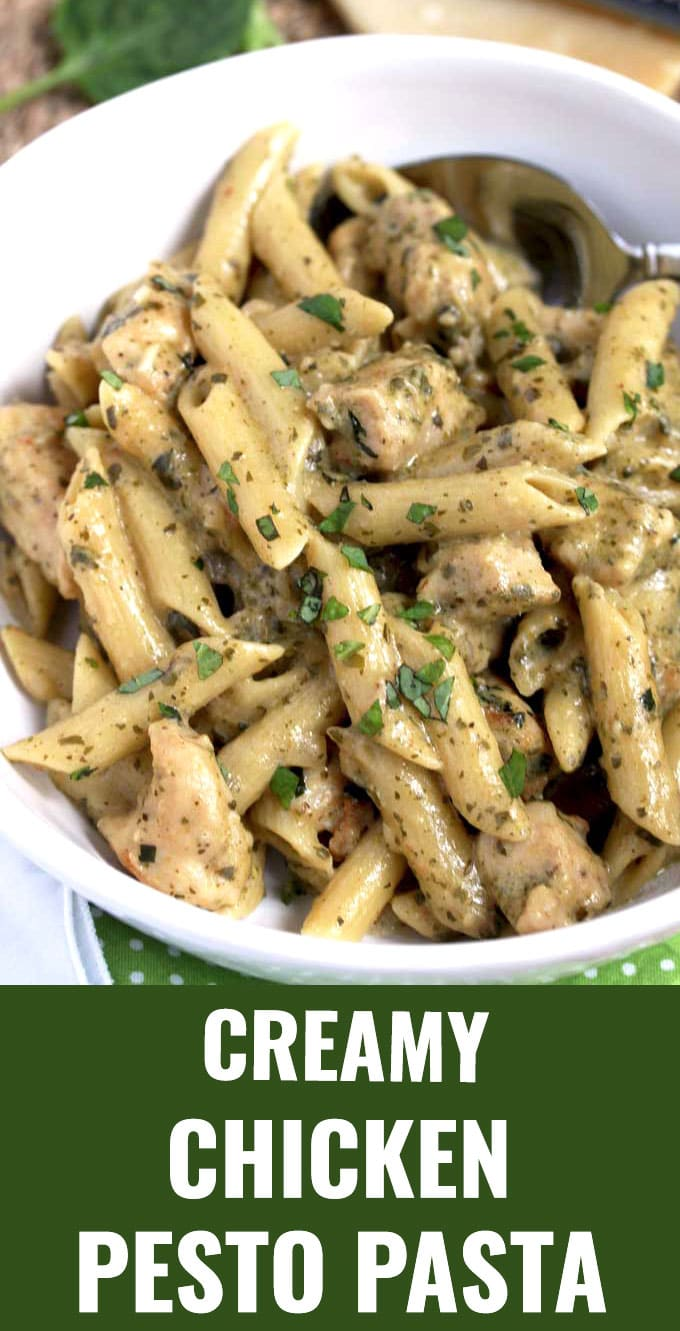 This Chicken Pesto Pasta is loaded with juicy tender chicken smothered in a delicious Creamy Pesto Parmesan Sauce. This easy Chicken Pesto Pasta is guaranteed to become a family favorite! This hearty pasta dish is ready in 30 minutes! #easy #creamy #recipe #penne #comfortfoods