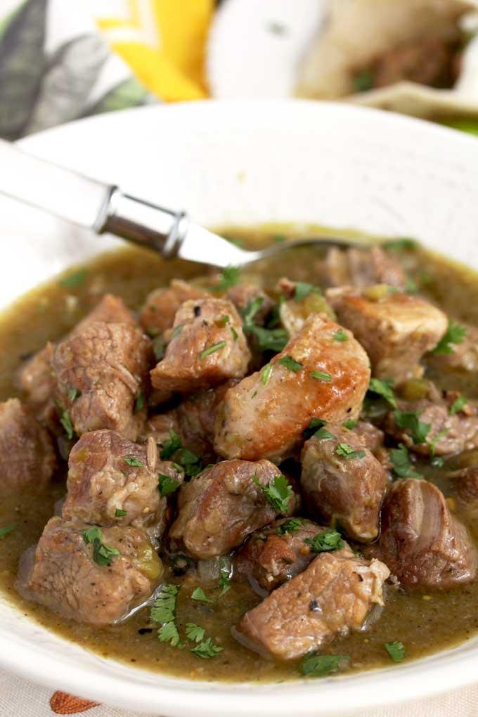 Pork Chile Verde in a White Bowl.