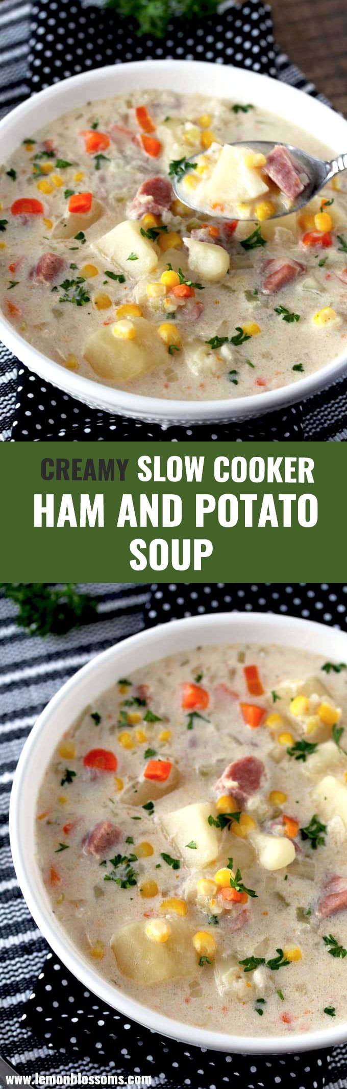 This Slow Cooker Ham and Potato Soup is hearty, creamy and delicious. Loaded with ham, potatoes and veggies in a rich and tasty broth . Minimal prep, dump and go, easy crock pot soup! #soup #glutenfree #slowcooker #crockpot #easy #potato #ham #creamy #best