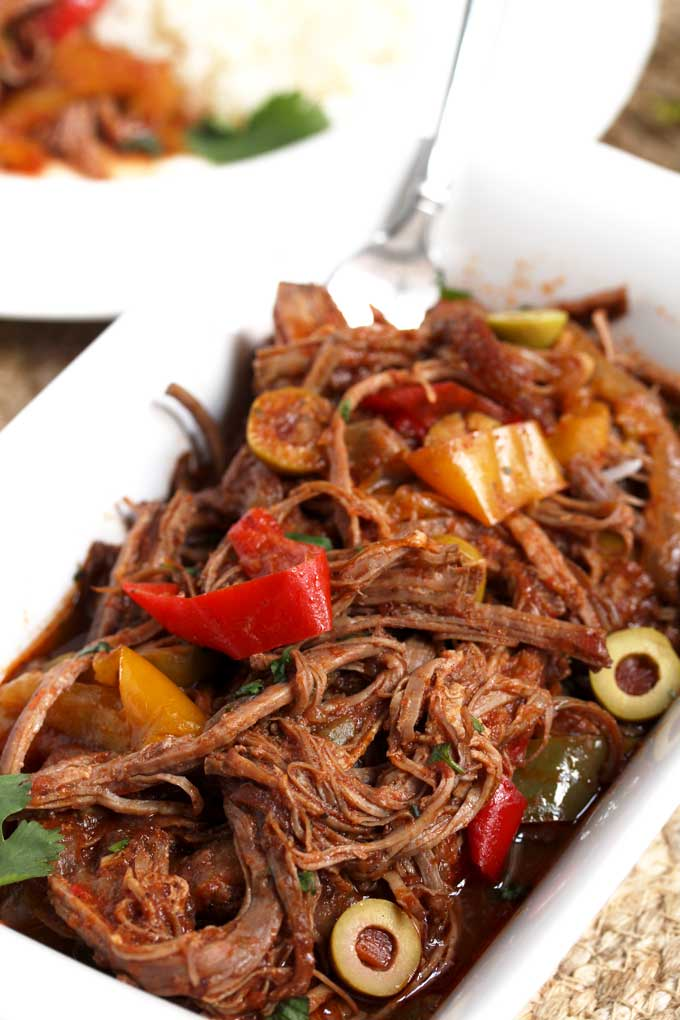 Serving plate filled with Cuban Ropa Vieja