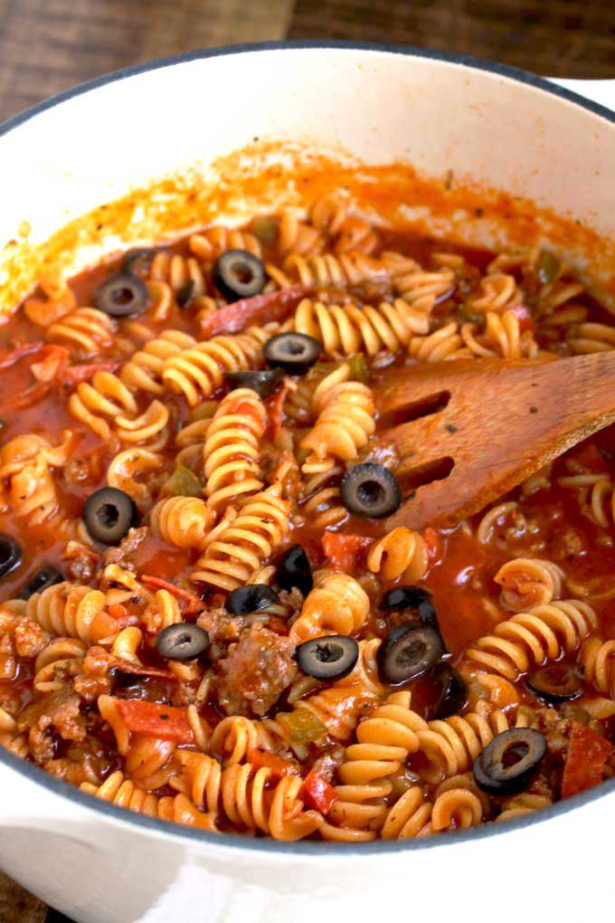 Pizza Pasta cooked in a Dutch oven.