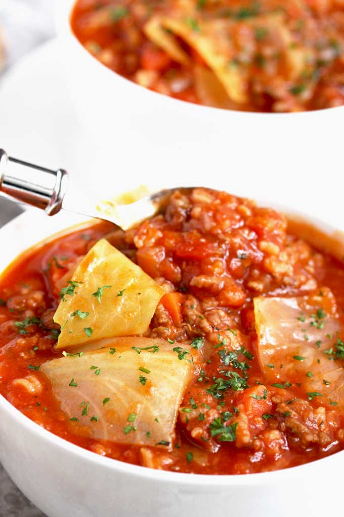 Cabbage Roll Soup in a white bowl.