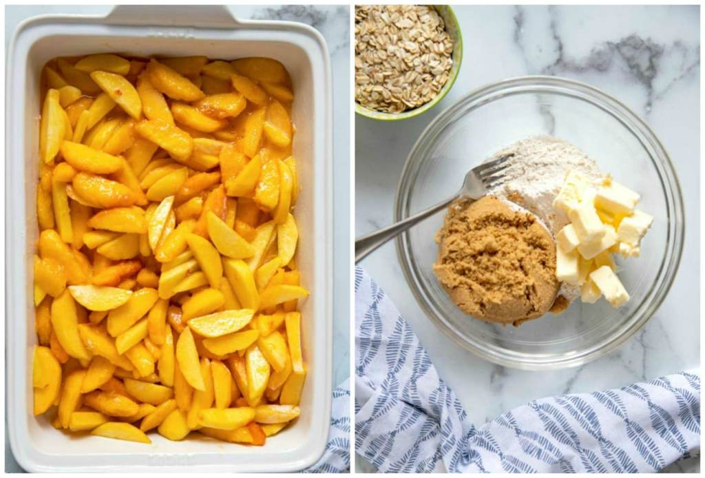 Step by Step photos on how to make this crisp recipe. Fresh peach mixture in a baking dish. Flour, sugar, butter and cinnamon in a bowl.