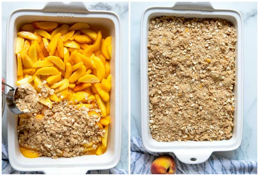 Step by Step photos on how to make this fruit dessert recipe. Topping the peaches with the streusel.