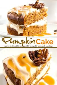 This Pumpkin Cake is super moist, tender and delicious. Topped with the most amazing salted caramel cream cheese frosting, this is the best pumpkin cake!