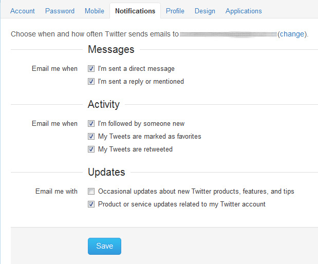 twitter notificação por email