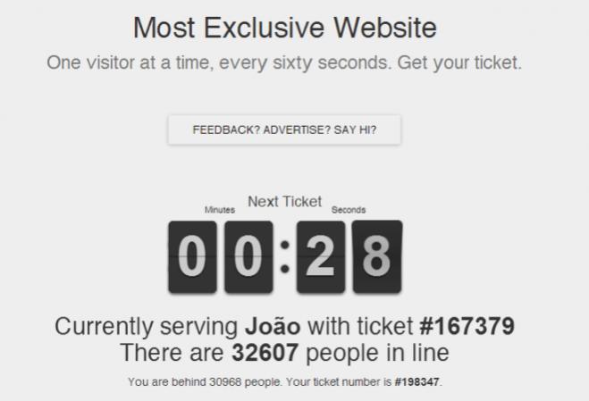 Conheça o site que permite apenas um visitante por vez