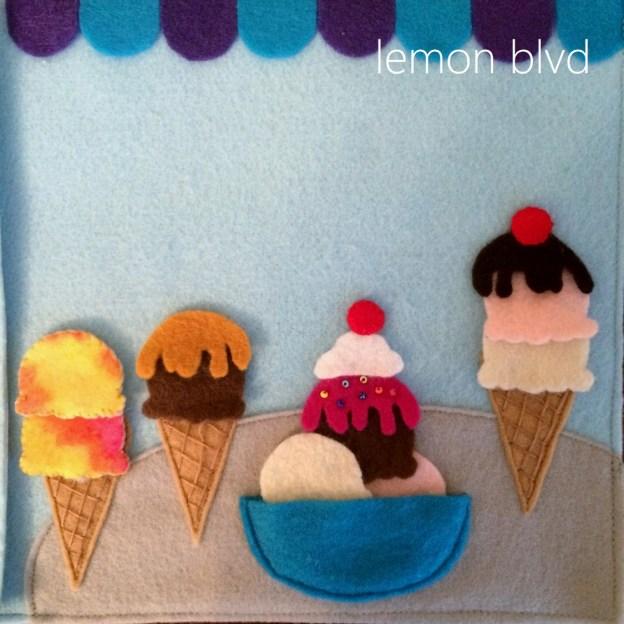Quiet Book Page - Ice Cream Sundae and Cones