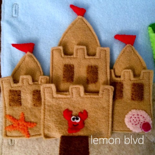 Sandcastle Quiet Book Page - door flaps down to reveal a crab - lemon blvd