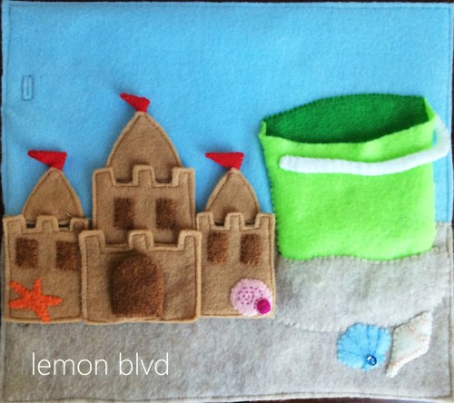Sandcastle Quiet Book Page - includes castle and bucket for storage - lemon blvd