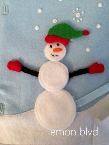 Snowman quiet book page - different pieces for dress up - lemon blvd
