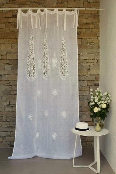 rideau voile de lin blanc modele nantes