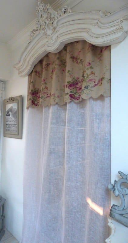 roses anciennes rideau festonne campagne 140x260cm