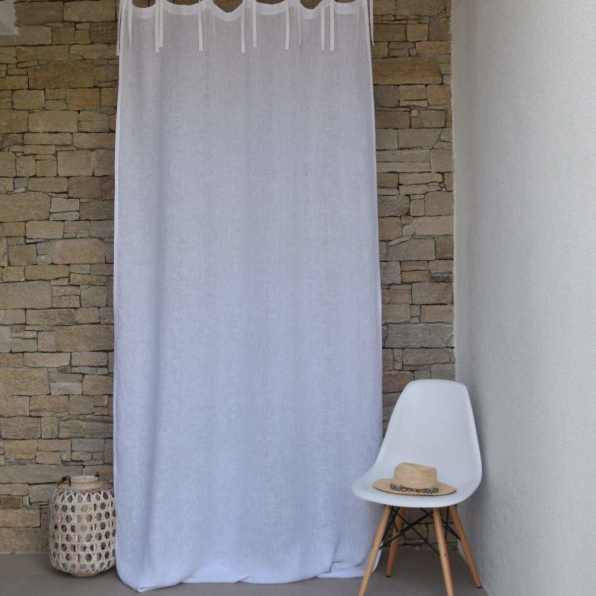 rideau voilage modele gaze de lin fine blanc cypres