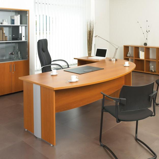 bureau droit bois et aluminium