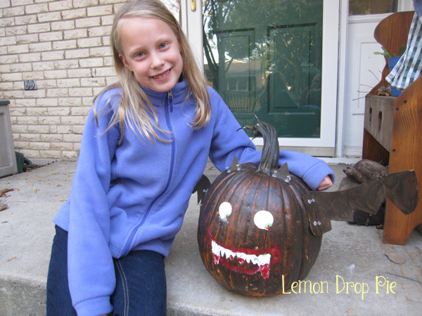 Lily and her vampire bat pumpkin