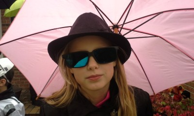 spy under umbrella