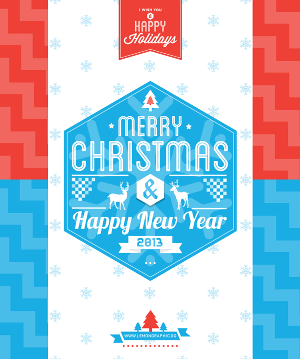 Typography Merry Christmas Card 2013 Wish You A Happy New