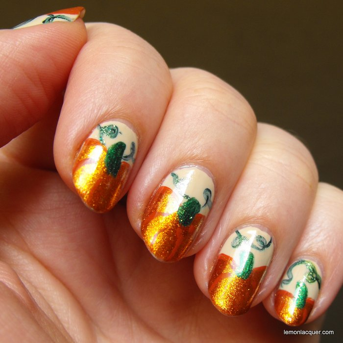 shiny pumpkin nail art