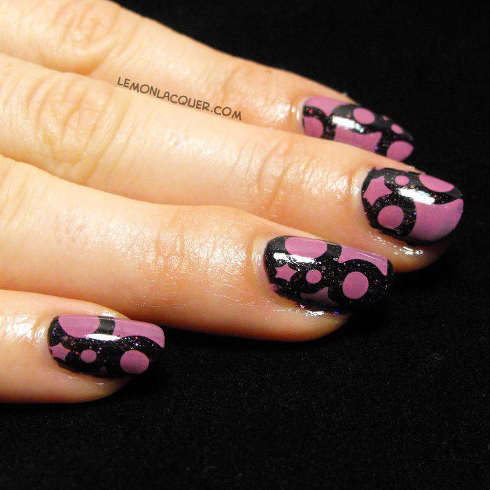Pink stamping over dark purple glitter