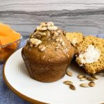 butternut squash muffin with cream cheese filling toasted butternut squash seeds