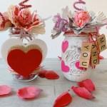 diy valentine's mason jars with candy flowers