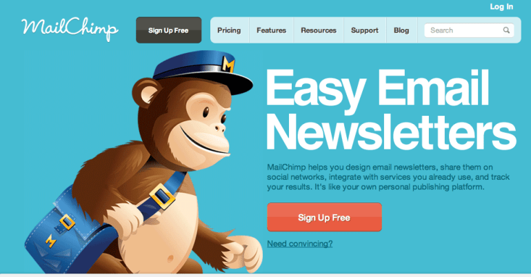 Mailchimp Call to Action button