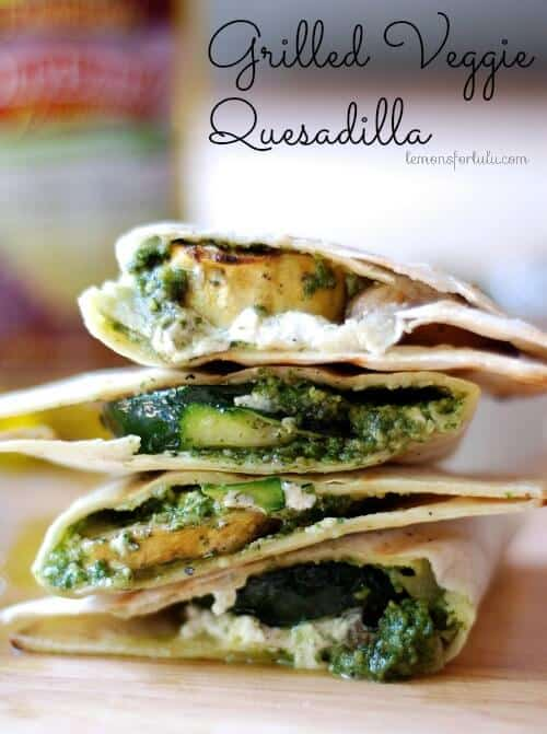 Grilled Veggie Quesadilla with creamy goat cheese and homemade pesto!