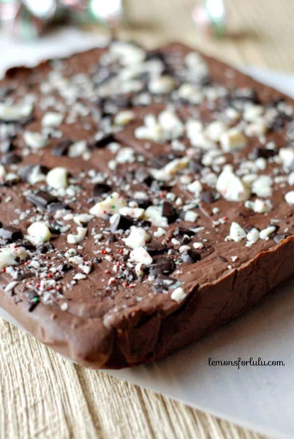 Peppermint Bark Bells in hidden in chocolat fudge! www.lemonsforlulu.com