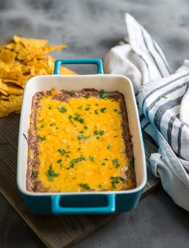 black bean dip with chips on the side