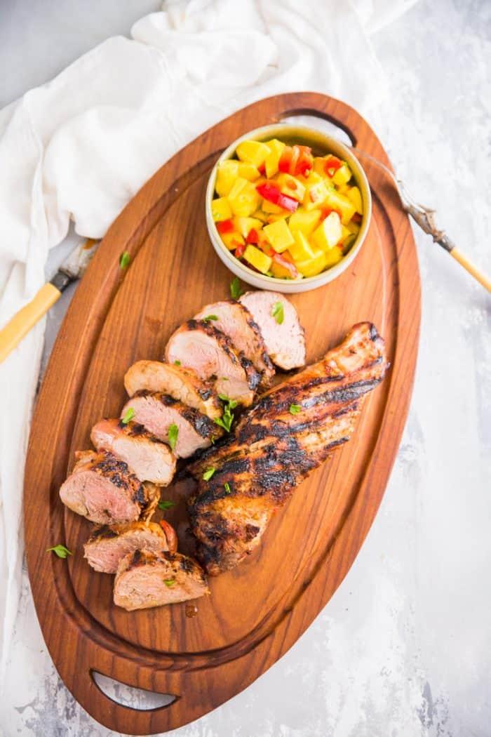 grilled pork loin sliced
