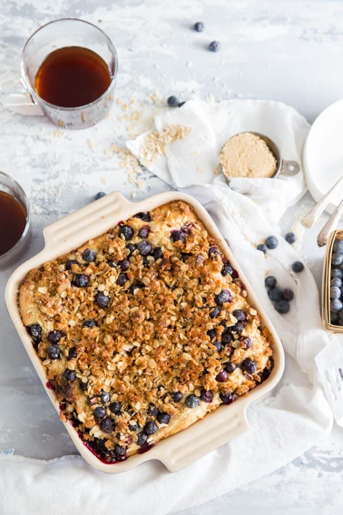 Blueberry coffee cake ingredients on the side
