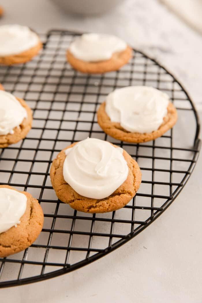 molasses cookies on a rack