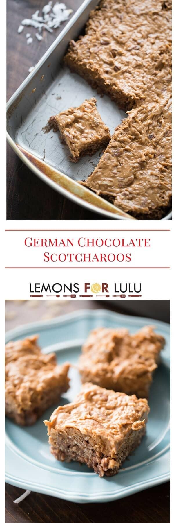 Everyone loves scotcharoos! These German chocolate schotcharoos are irresistible!