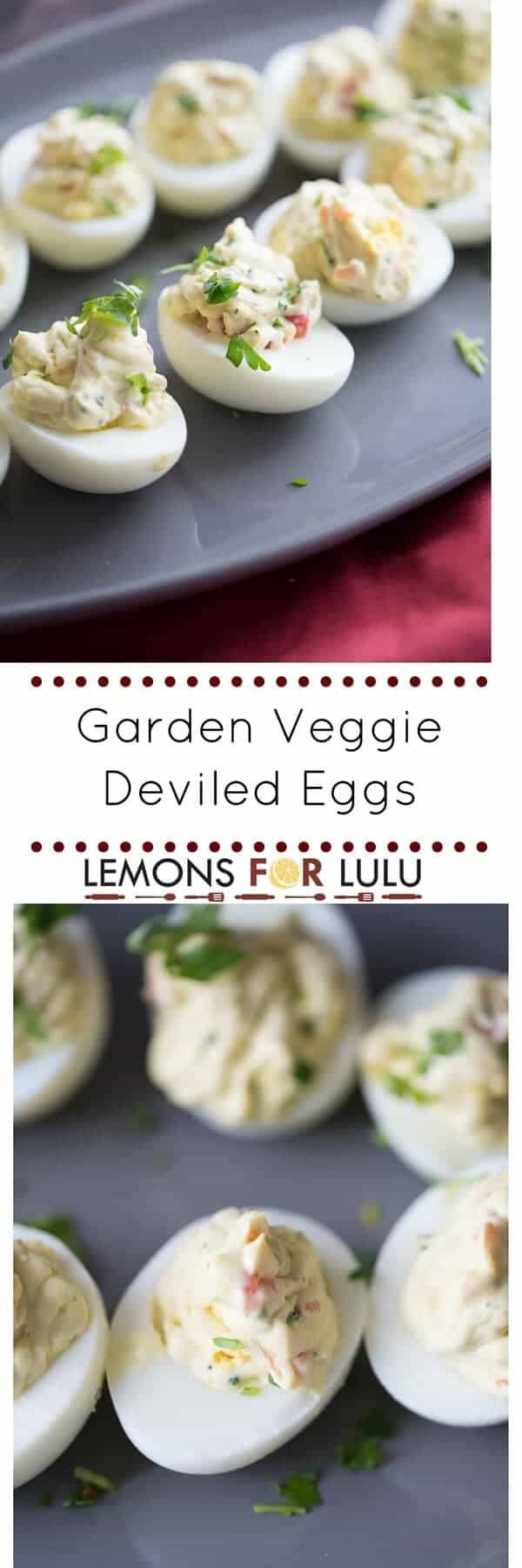 Nothing beats a good deviled egg recipe except for a simple deviled egg recipe and this is both! Fresh garden veggies and ranch seasoning make these little eggs taste fantastic!