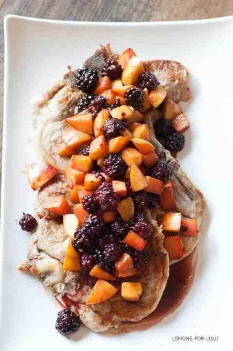 Pork Chops with Blackberry Peach Sauce {Lemons For Lulu}