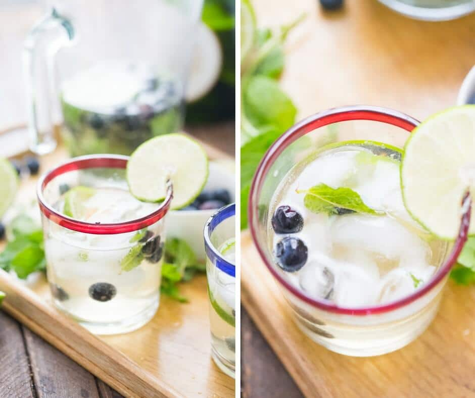 photo collage - champagne blueberry mojitos with mint leaves and blueberries on a wooden platter.