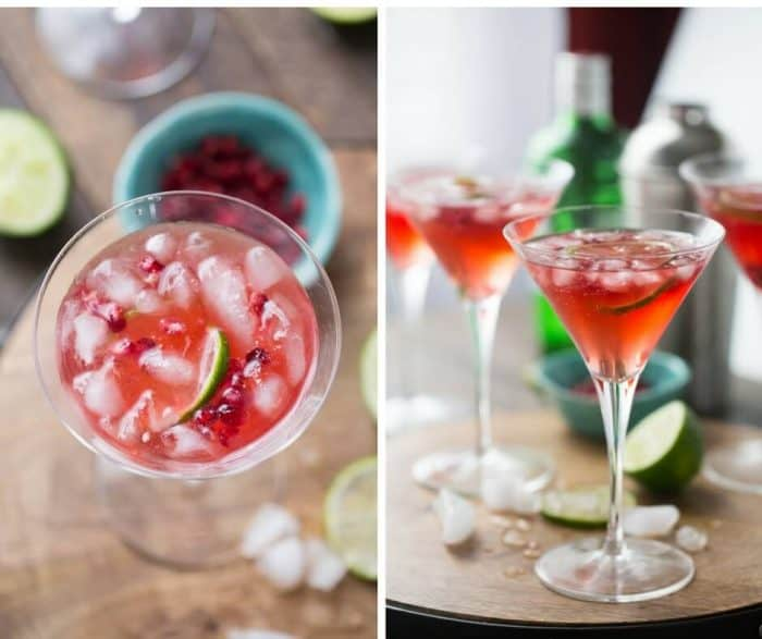 Pomegranate juice adds a deep favor to this gin fizz! Fresh lime juice and sugar are a must!